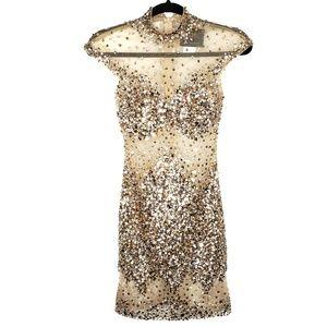 Mac Duggal Sheer Sequin Gold Pageant Formal Dress